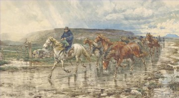 Bad weather in the Roman Campagna Enrico Coleman horse Oil Paintings